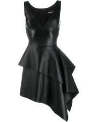 DSquared² Flared Leather Dress - Black