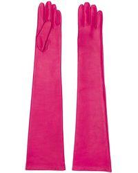 N°21 Lange Handschoenen Van Leer - Roze