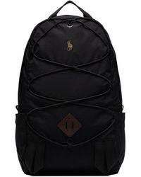Polo Ralph Lauren Black Top Zip Logo Backpack