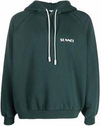 Sunnei Logo-print Cotton Hoodie - Green
