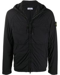 Stone Island Куртка На Молнии С Капюшоном И Логотипом - Черный
