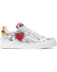 bcfecae379 Dolce & Gabbana - White Graffiti Heart Print Leather Sneakers - Lyst
