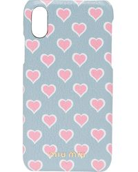 Miu Miu Madras Leather Iphone X And Xs Cover - Gray