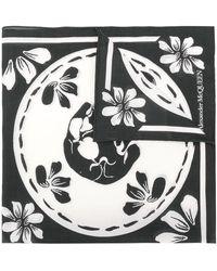Alexander McQueen Платок С Цветочным Принтом - Черный
