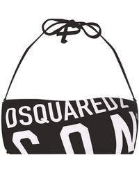 DSquared² Bandeau-Bikinioberteil mit Logo - Schwarz
