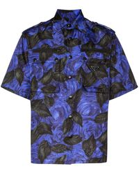 Prada Overhemd Met Bloemenprint - Blauw