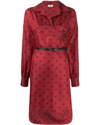Fendi Платье-рубашка С Принтом Ff - Красный
