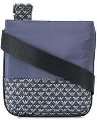Emporio Armani Sacoche à motif monogrammé - Bleu