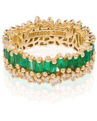 Suzanne Kalan Princess エメラルド&ダイヤモンド リング 18kイエローゴールド - グリーン