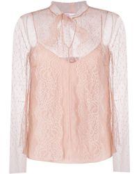 RED Valentino Blusa in tulle point d'esprit - Rosa