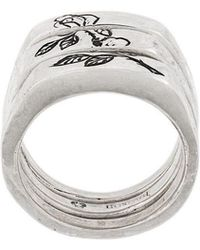 Henson Engraved Rose Split Ring - Metallic