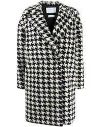 Harris Wharf London Houndstooth Single-breasted Coat - Blue