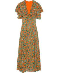 Miu Miu Paisley Printed Jacquard Dress - Orange