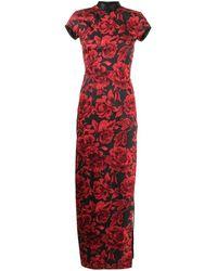 Shanghai Tang ローズプリント ドレス - ブラック