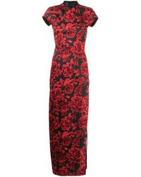 Shanghai Tang Платье Макси С Цветочным Принтом - Черный