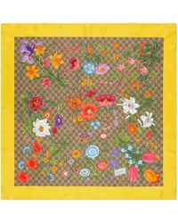 Gucci Silk Carré With GG Flora Print - Meerkleurig