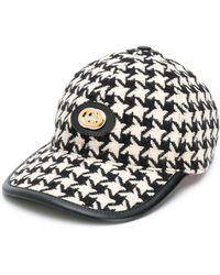 Gucci - Logo Appliqué Houndstooth Baseball Cap - Lyst