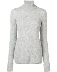 Drumohr Cable Knit Turtle Neck Sweater - Gray