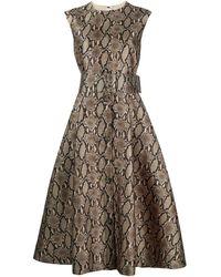 MSGM Платье Со Змеиным Принтом И Поясом - Коричневый