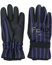 Fendi ストライプ 手袋 - ブルー