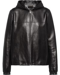 Prada フーデッド レザージャケット - ブラック