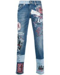 Dolce & Gabbana - Printed Slim-fit Jeans - Lyst