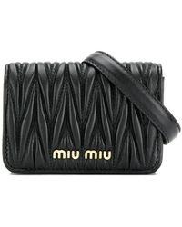 Miu Miu ロゴ ベルトバッグ - ブラック