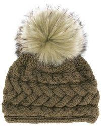 Inverni - Beatrice Raccoon Fur Pompom Beanie - Lyst