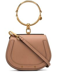 Chloé Beige Nile Mini Leather Bracelet Bag - Brown