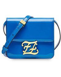 Fendi Karligraphy Patent Leather Shoulder Bag - Синий