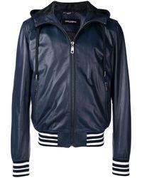 Dolce & Gabbana Hooded Leather Jacket - Blue