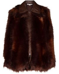 Stella McCartney Faux-fur Zip-front Coat - Brown