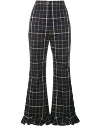 Awake - Checked Ruffle Hem Trousers - Lyst
