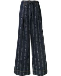 Tory Burch Jeans a gamba ampia jacquard - Blu