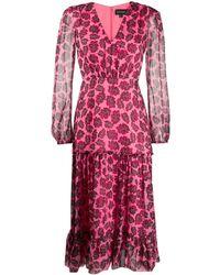 Saloni プリント シルクドレス - ピンク