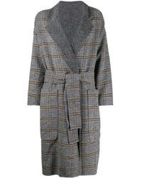 Twin Set Двубортное Пальто В Клетку - Серый