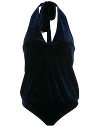 Adriana Degreas Fluwelen Body Met Halternek - Blauw