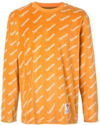 Supreme Velour Diagonal Logo L/s Top - Orange