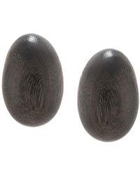Natori Acacia Wood Clip-on Earrings - Brown