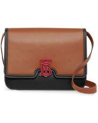 dfac9444af4b Burberry - Medium Two-tone Leather Tb Bag - Lyst