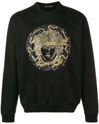 Versace Crystal Embroidered Medusa Sweater - Black