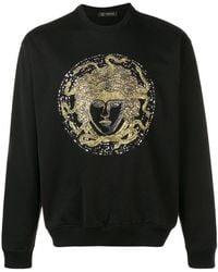 Versace Crystal Embroidered Medusa Jumper - Black