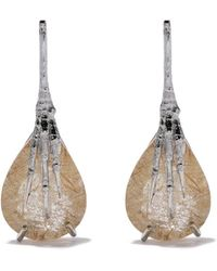Wouters & Hendrix - 18kt Gold Quartz Claw Rutilated Earrings - Lyst