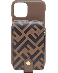 Fendi Чехол Для Iphone 11 Pro С Логотипом Ff - Коричневый