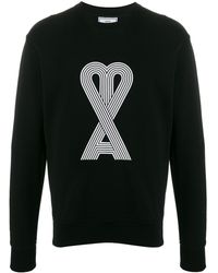 AMI De Coeur Linear Print Sweater - Black