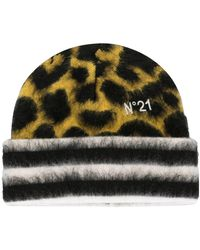 N°21 Leopard-patterned Beanie - Yellow