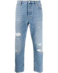Calvin Klein Vaqueros capri con efecto envejecido - Azul
