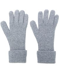 N.Peal Cashmere Ribbed Gloves - Grey
