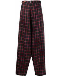 Maison Mihara Yasuhiro Pantalon ample à carreaux - Rouge