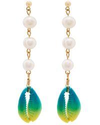 Venessa Arizaga Shell And Pearl Drop Earrings - Blue